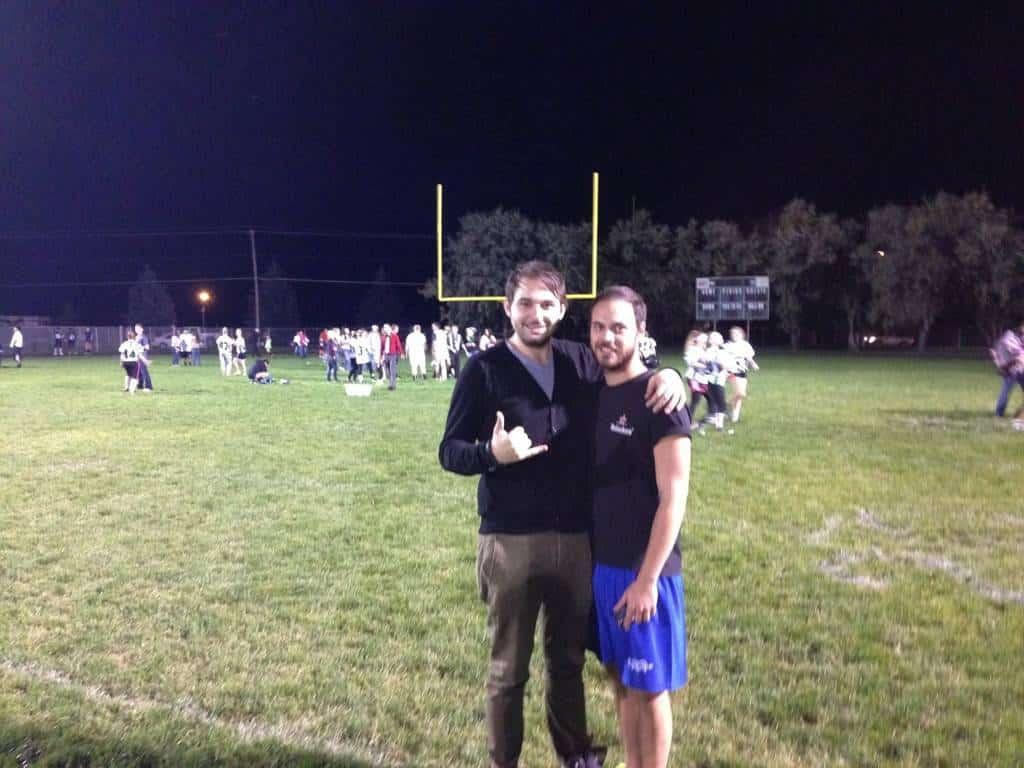 Io e Daniel al campo da Football della scuola dopo la partita.