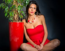 Giorgia - Red Dress and Plant - Studio